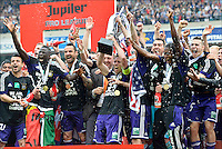 Behrang Safari of RSC Anderlecht, Cheikhou Kouyate of RSC Anderlecht, Marcin Wasilewski of RSC Anderlecht, Lucas Biglia of RSC Anderlecht, Silvio Proto of RSC Anderlecht, Dieumerci Mbokani of RSC Anderlecht and Massimo Bruno of RSC Anderlecht - joie - celebration .Anderlecht Campione del Belgio .Football Calcio 2012/2013.Jupiter League Belgio .Foto Insidefoto .ITALY ONLY