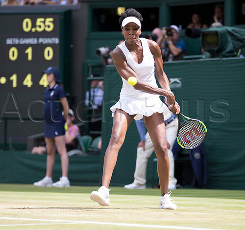 July 10th 2017, All England Lawn Tennis and Croquet Club, London, England; The Wimbledon Tennis Championships, Day 7;  Venus Williams (USA) hits a backhand return to Ana Konjuh (CRO)
