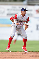 Williamsport Crosscutters shortstop Emmanuel Marrero (18) during a game against the Batavia Muckdogs on July 27, 2014 at Dwyer Stadium in Batavia, New York.  Batavia defeated Williamsport 6-5.  (Mike Janes/Four Seam Images)