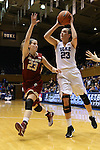 17 January 2016: Duke's Rebecca Greenwell (right) and Boston College's Kelly Hughes (left). The Duke University Blue Devils hosted the Boston College Eagles at Cameron Indoor Stadium in Durham, North Carolina in a 2015-16 NCAA Division I Women's Basketball game. Duke won the game 71-51.