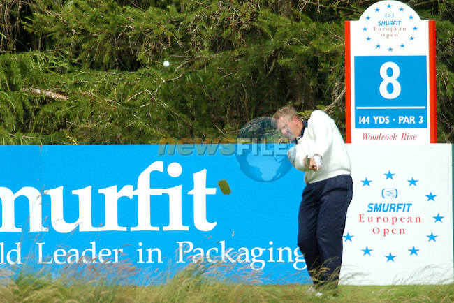 STRAFFEN, IRELAND - July 1 Ian Woosnam teeing off on the 8th Tee box on his 17th hole during the Smurfit European Open on the Smurfit Course at the K Club in Straffan Ireland 1/7/04.Photo AFP/NEWSFILE/FRAN CAFFREY..(Photo credit should read FRAN CAFFREY/NEWSFILE/AFP)...This Picture has been sent you under the condtions enclosed by:.Newsfile Ltd..the Studio,.Millmount Abbey,.Drogheda,.Co Meath..Ireland..Tel: +353(0)41-9871240.Fax: +353(0)41-9871260.GSM: +353(0)86-2500958.email: pictures@newsfile.ie.www.newsfile.ie.FTP: 193.120.102.198..This picture is from Fran Caffrey@newsfile.ie