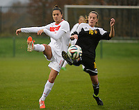20141126 - TUBIZE , BELGIUM : duel pictured between Belgian Chloe Van De Velde (right) and Turkish Emine Ecem Esen (left)  during the Friendly female soccer match between Women under 19 / 21  teams of  Belgium and Turkey .Wednesday 26th November 2014 . PHOTO DAVID CATRY