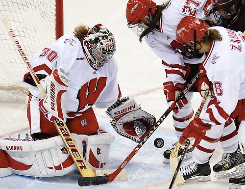 Sophomore goaltender Jessie Vetter holds #4 Minnesota to one point in the Badger win on Saturday, 10/21/06, at the Kohl Center in Madison, Wisconsin