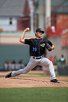 Akron RubberDucks starting pitcher Shao-Ching Chiang (29) delivers a pitch during a game against the Erie SeaWolves on August 27, 2017 at UPMC Park in Erie, Pennsylvania.  Akron defeated Erie 6-4.  (Mike Janes/Four Seam Images)