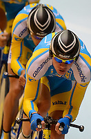 The Ukraine team ride in the qualification of the Team Pursuit event on day 1 of the 2012 UCI Track Cycling World Championships at Hisense Arena in Melbourne, Australia. Photo Sydney Low. Copyright Sydney Low. All rights reserved. No reproduction permitted. Access via FlickrAPI not permitted.