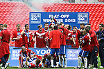 LONDON, ENGLAND - MAY 20: 2011-12 York City celebrate winning the Blue Square Bet Conference League promotion final between Luton Town FC and York City FC at Wembley Stadium on May 20, 2012 in London, England. (Photo by Dave Horn - Extreme Aperture Photography)