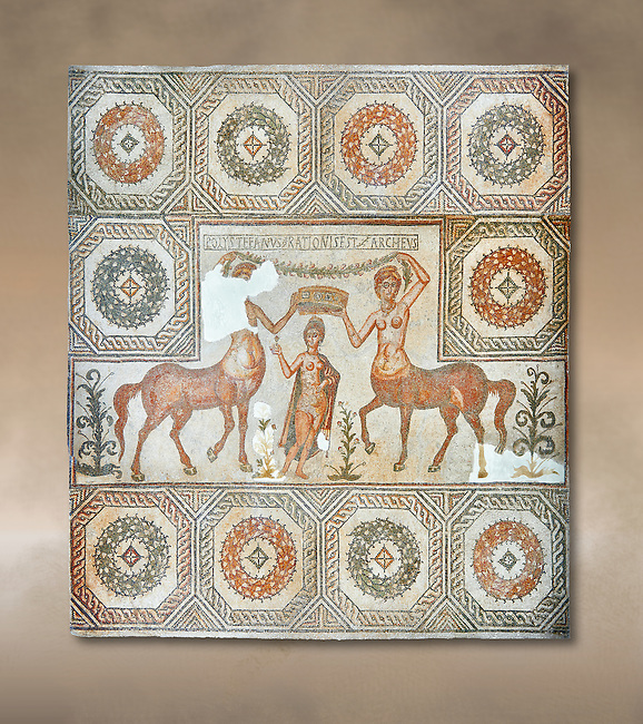 4th century Roman mosaic panel of the Goddess Venus from Ulules (Elles), Tunisia. Venus of Aphrodite is accompanied by 2 female centaurs, half women half horse creatures, known as Am(azoniu) and Titonius. The are crowning Venus The Bardo Museum, Tunis, Tunisia. The Bardo Museum, Tunis, Tunisia