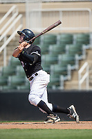Landon Lassiter (2) of the Kannapolis Intimidators follows through on his swing against the Lakewood BlueClaws at Kannapolis Intimidators Stadium on May 8, 2016 in Kannapolis, North Carolina.  The Intimidators defeated the BlueClaws 3-2.  (Brian Westerholt/Four Seam Images)