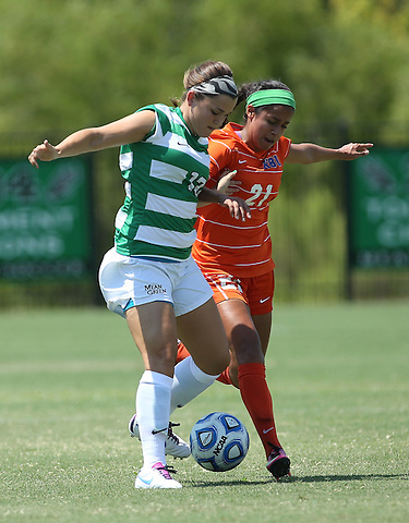 DENTON, TX- AUGUST 25: Allison Guderian #13 of the North Texas Mean Green - Houston Baptist vs North Texas Mean Green Soccer at Mean Green Village Soccer Field in Denton on August 25, 2013 in Denton, Texas. Photo by Rick Yeatts