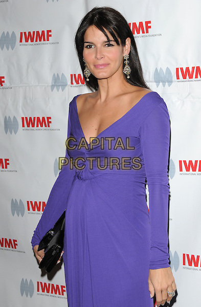 ANGIE HARMON .attends The International Women's Media Foundation's Courage in Journalism Awards held at The Beverly Hills Hotel in Beverly Hills, California, USA, October 16th 2008                                                                     .half length earrings purple dress long sleeved black .CAP/DVS.©Debbie VanStory/Capital Pictures