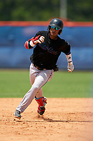 GCL Marlins Victor Mesa Jr. (9) running the bases during a Gulf Coast League game against the GCL Mets on August 11, 2019 at St. Lucie Sports Complex in St. Lucie, Florida.  The Marlins defeated the Mets 3-2 in the second game of a doubleheader.  (Mike Janes/Four Seam Images)
