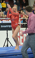 NWA Democrat-Gazette/ANDY SHUPE<br />Arkansas' Sarah Shaffer celebrates Friday, Jan. 12, 2018, as she competes in the vault portion of the 11th-ranked Razorbacks' meet with sixth-ranked Kentucky in Barnhill Arena in Fayetteville. Visit nwadg.com/photos to see more photographs from the meet.