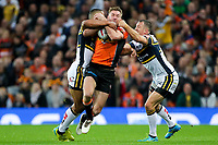 Picture by Alex Whitehead/SWpix.com - 07/10/2017 - Rugby League - Betfred Super League Grand Final - Castleford Tigers v Leeds Rhinos - Old Trafford, Manchester, England - Castleford's Michael Shenton is tackled by Castleford's Kallum Watkins and Danny McGuire.