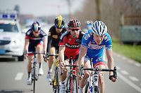 Frederik Veuchelen (BEL/Wanty-GroupeGobert) driving the early breakaway group<br /> <br /> Gent-Wevelgem 2014