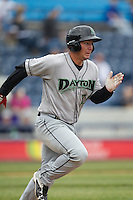 Dayton Dragons first baseman James Vasquez (25) runs to first base against the West Michigan Whitecaps on April 24, 2016 at Fifth Third Ballpark in Comstock, Michigan. Dayton defeated West Michigan 4-3. (Andrew Woolley/Four Seam Images)