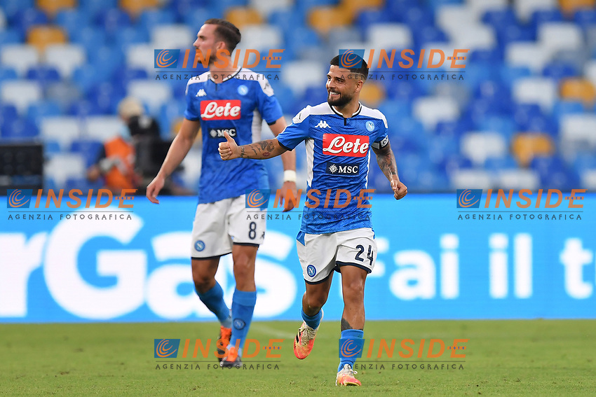 Lorenzo Insigne of SSC Napoli celebrates after scoring the goal of 3-1 during the Serie A football match between SSC Napoli and SPAL at stadio San Paolo in Naples ( Italy ), June 28th, 2020. Play resumes behind closed doors following the outbreak of the coronavirus disease. <br /> Photo Carmelo Imbesi / Insidefoto