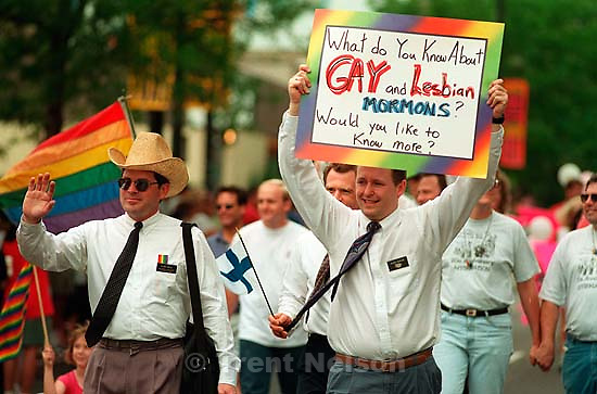 &quot;What do you know about Gay and Lesbian Mormons? Would you like to know more?&quot; at the Gay Pride Parade.<br />