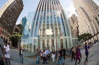 Hordes of shoppers descend on the Apple Store on Fifth Avenue in New York on Saturday, September 15, 2012.  The iPhone 5 will go on sale Friday, September 21, 2012.(© Frances M. Roberts)