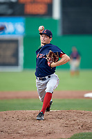 Lowell Spinners starting pitcher Thad Ward (41) delivers a pitch during a game against the Batavia Muckdogs on July 15, 2018 at Dwyer Stadium in Batavia, New York.  Lowell defeated Batavia 6-2.  (Mike Janes/Four Seam Images)