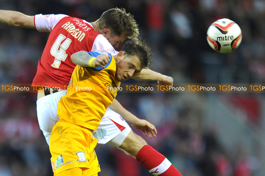 Kari Arnason of Rotherham United goes up for an aerial challenge with Joe Garner of Preston North End - Rotherham United vs Leyton Orient - Sky Bet League One Promotion Play-Off Semi-Final 2nd Leg at the New York Stadium, Rotherham - 15/05/14 - MANDATORY CREDIT: Greig Bertram/TGSPHOTO - Self billing applies where appropriate - 0845 094 6026 - contact@tgsphoto.co.uk - NO UNPAID USE