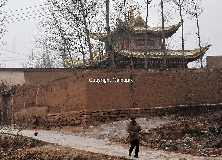 The house where the present Dalai Lama was born has been re-built in traditional ornate style, Shihui Yao Township, Honghai Viallge 13 November 2008. Qinghai Province in western China borders Tibet and parts were the scenes of disturbance earlier this year, 2008.<br />