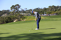 Jordan Spieth (USA) putts on the 5th green at Pebble Beach Golf Links during Saturday's Round 3 of the 2017 AT&amp;T Pebble Beach Pro-Am held over 3 courses, Pebble Beach, Spyglass Hill and Monterey Penninsula Country Club, Monterey, California, USA. 11th February 2017.<br /> Picture: Eoin Clarke | Golffile<br /> <br /> <br /> All photos usage must carry mandatory copyright credit (&copy; Golffile | Eoin Clarke)