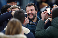 Calcio, Serie A: Roma vs Milan. Roma, stadio Olimpico, 12 dicembre 2016.<br /> Lega Nord party's leader Matteo Salvini arrives on the stand for the Italian Serie A football match between Roma and AC Milan at Rome's Olympic stadium, 12 December 2016.<br /> UPDATE IMAGES PRESS/Isabella Bonotto