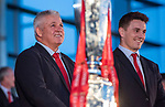 Wales's national rugby team who won both the Six Nations and the Grand Slam are welcomed to the National Assembly for Wales Senedd building in Cardiff Bay today for a public celebration event. Coach Warren Gatland and Jonathan Davies.
