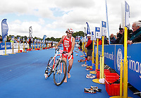 Photo: Richard Lane/Richard Lane Photography. GE Strathclyde Park Triathlon. 22/05/2011. Elite Men winner, Tim Don goes through transition from bike to run.