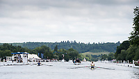 Henley-on-Thames. United Kingdom.  2017 Henley Royal Regatta, Henley Reach, River Thames. <br /> <br /> General View; looking down the Henley Course, towards Temple Island, with a heat of the Diamond Challenge Sculls in progress,<br /> <br /> 09:59:04  Friday  30/06/2017<br /> <br /> [Mandatory Credit. Intersport Images].