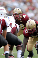 Boston College Eagles linebacker Luke Kuechly (#40) during a game versus the University of Massachusetts Minutemen on September 24, 2011 at Alumni Stadium in Chestnut Hill, Massachusetts. ( Ken Babbitt/Four Seam Images)