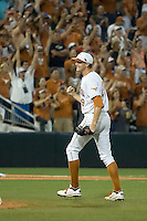 Texas Longhorn pitcher Corey Knebel #29 pumps his fist after defeating the Arizona State Sun Devils in NCAA Tournament Super Regional Game #3 and heading to Omaha for the College World Series on June 12, 2011 at Disch Falk Field in Austin, Texas. (Photo by Andrew Woolley / Four Seam Images)