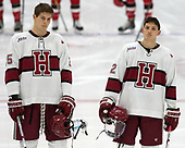 Wiley Sherman (Harvard - 25), John Marino (Harvard - 12) - The Harvard University Crimson defeated the St. Lawrence University Saints 6-3 (EN) to clinch the ECAC playoffs first seed and a share in the regular season championship on senior night, Saturday, February 25, 2017, at Bright-Landry Hockey Center in Boston, Massachusetts.