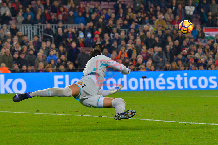 League Santander 2016/2017. Game: 16.<br /> FC Barcelona vs RCD Espanyol: 4-1.<br /> Roberto Jimenez.