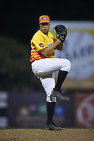 Los Rapidos de Kannapolis relief pitcher Andrew Perez (24) in action against the West Virginia Power at Kannapolis Intimidators Stadium on July 25, 2018 in Kannapolis, North Carolina. The Los Rapidos defeated the Power 8-7 in game two of a double-header. (Brian Westerholt/Four Seam Images)