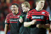 20121216 Copyright onEdition 2012©.Free for editorial use image, please credit: onEdition..Mako Vunipola of Saracens (left) enjoys the moment with Petrus du Plessis of Saracens after winning the Heineken Cup Round 4 match between Saracens and Munster Rugby at Vicarage Road on Sunday 16th December 2012 (Photo by Rob Munro)..For press contacts contact: Sam Feasey at brandRapport on M: +44 (0)7717 757114 E: SFeasey@brand-rapport.com..If you require a higher resolution image or you have any other onEdition photographic enquiries, please contact onEdition on 0845 900 2 900 or email info@onEdition.com.This image is copyright onEdition 2012©..This image has been supplied by onEdition and must be credited onEdition. The author is asserting his full Moral rights in relation to the publication of this image. Rights for onward transmission of any image or file is not granted or implied. Changing or deleting Copyright information is illegal as specified in the Copyright, Design and Patents Act 1988. If you are in any way unsure of your right to publish this image please contact onEdition on 0845 900 2 900 or email info@onEdition.com