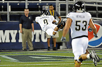 30 March 2012:  FIU's Loranzo Hammonds (8) dives into the end zone for a touchdown that was called back due to a penalty at the FIU Football Spring Game at University Park Stadium in Miami, Florida.