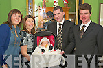 Eleanor and Tom Barry, Milltown, pictured with godparents Larkinann McCarthy and John Barry,in the Dromhall hotel, as they celebrated their daughter Kates christening on Sunday.   Copyright Kerry's Eye 2008