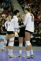 15 December 2007: Stanford Cardinal Cynthia Barboza (1), Gabi Ailes (9), and Alix Klineman (10) during Stanford's 25-30, 26-30, 30-23, 30-19, 8-15 loss against the Penn State Nittany Lions in the 2007 NCAA Division I Women's Volleyball Final Four championship match at ARCO Arena in Sacramento, CA.