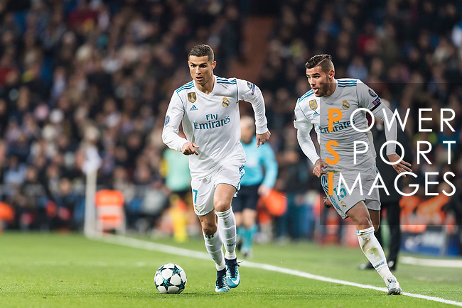 Cristiano Ronaldo of Real Madrid (L) and Theo Hernandez of Real Madrid  (R)  during the Europe Champions League 2017-18 match between Real Madrid and Borussia Dortmund at Santiago Bernabeu Stadium on 06 December 2017 in Madrid Spain. Photo by Diego Gonzalez / Power Sport Images