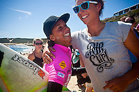 Sally Fitzgibbons (AUS) with Tyler Wright (AUS) Surfer's Point, Margaret River, Western Australia (Sunday, March 21, 2010) Ladies Day at the 6 Star  Drug Aware Pro at Margaret River today in clean 1.5 meter waves. Chelsea Hedges (AUS) took out a nail biting final. The final matched Sally Fitzgibbons (AUS) and Chelsea Hedges (AUS) after Fitzgibbons had posted the highest heat score of the whole event (18.43 pts out of 20)in her semi final against local surfer Felicity Palmateer (AUS).  Chelsea Hedges (AUS) came up against Tyler Wright (AUS) in the second semi. Chelsea took the second semi to meet Sally in the Final.Photo: joliphotos.com