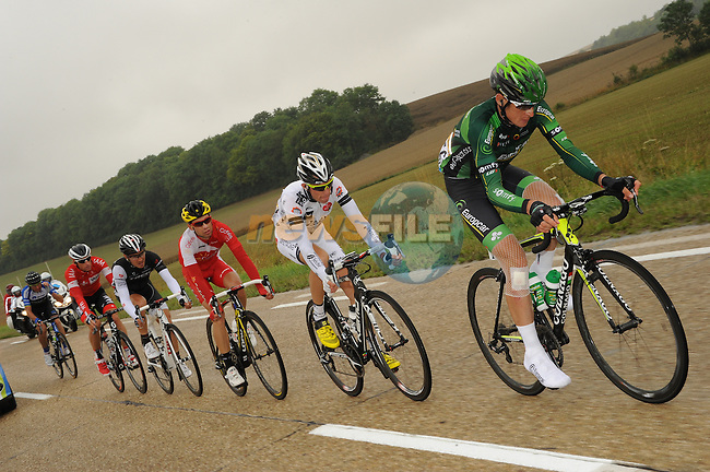 The breakaway group featuring Alexandre Pichot (FRA) Europcar, Martin Elmiger (SUI) IAM Cycling, Bartosz Huzarski (POL) Netapp-Endura, Anthony Delaplace (FRA) Bretagne-Seche, Matthew Busche (USA) Trek and Nicolas Edet (FRA) Cofidis during Stage 7 of the 2014 Tour de France running 234.5km from Epernay to Nancy. 11th July 2014.<br /> Photo ASO/G.Demouveaux/www.newsfile.ie
