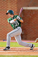 Chris Kalousdian #22 of the Manhattan Jaspers follows through on his swing against the High Point Panthers at Willard Stadium on March 9, 2012 in High Point, North Carolina.  The Panthers defeated the Jaspers 11-6.  (Brian Westerholt/Four Seam Images)
