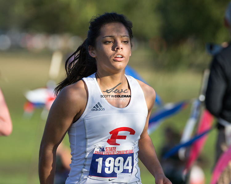 Mia Torres of Fredericksburg High School runs in the Girls Class 4A UIL Cross Country State Championships at Old Settlers Park in Round Rock, Texas, on November 12, 2016.