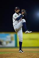 Danville Braves relief pitcher Filyer Sanchez (22) in action against the Burlington Royals at Burlington Athletic Stadium on August 9, 2019 in Burlington, North Carolina. The Royals defeated the Braves 6-0. (Brian Westerholt/Four Seam Images)
