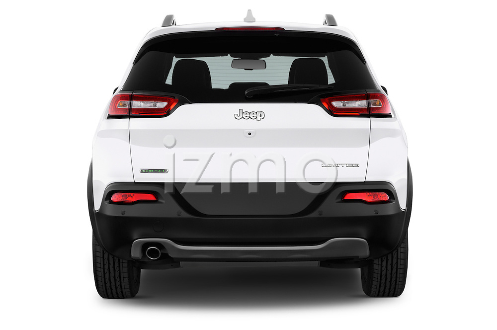 Straight rear view of a 2015 Jeep Cherokee Limited 5 Door SUV stock images