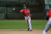 Billings Mustangs second baseman Urwin Juaquin (13) throws to first base during a Pioneer League game against the Ogden Raptors at Lindquist Field on August 17, 2018 in Ogden, Utah. The Billings Mustangs defeated the Ogden Raptors by a score of 6-3. (Zachary Lucy/Four Seam Images)