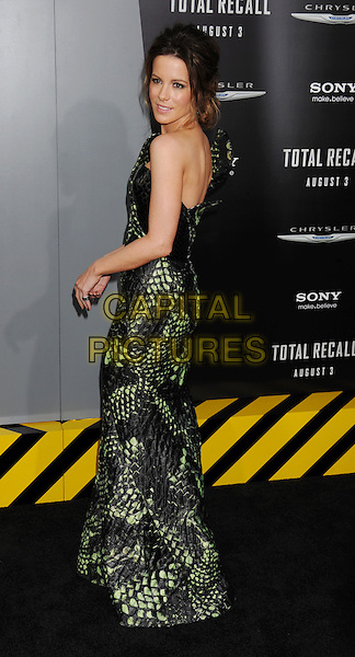 "Kate Beckinsale  .""Total Recall"" Los Angeles Premiere held at Grauman's Chinese Theatre, Hollywood, California, USA..August 1st, 2012.full length dress black strapless green one shoulder snakeskin animal print side   .CAP/ROT/TM.©Tony Michaels/Roth Stock/Capital Pictures"