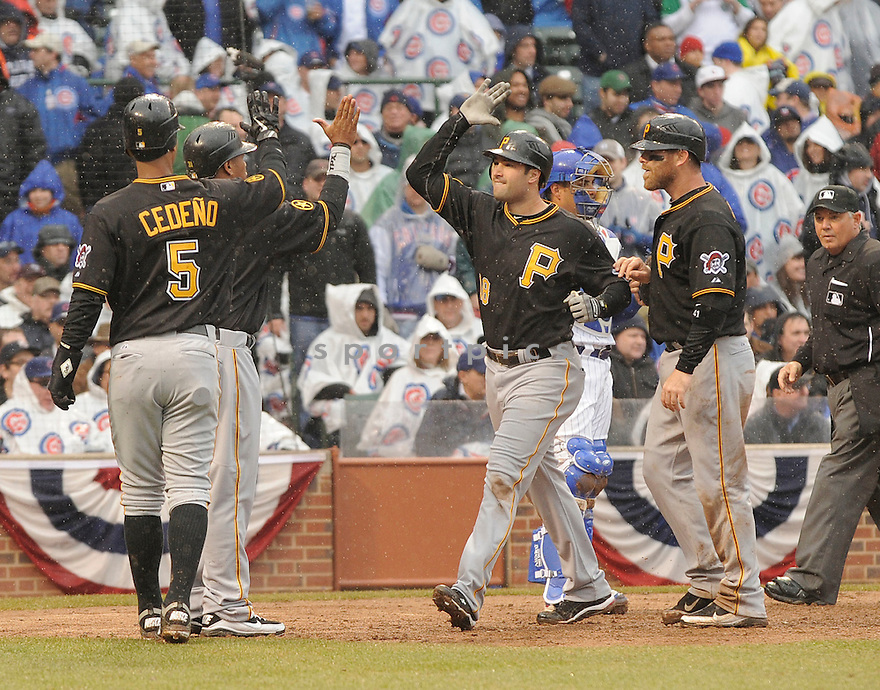 NEIL WALKER, of the Pittsburgh Pirates , in actions during the Pirates game against the Chicago Cubs at Wrigley FIeld on April 1, 2011.  The Pittsburgh Pirates won the game beating the Chicago Cubs 6-3.