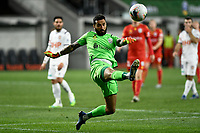 30th July 2020; Bankwest Stadium, Parramatta, New South Wales, Australia; A League Football, Adelaide United versus Perth Glory; Goalie Paul Izzo of Adelaide United clears the difficult ball into touch